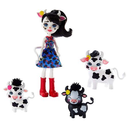 Set Enchantimals by Mattel Cambrie Cow With Ricotta And Family Papusa cu 3 figurine*