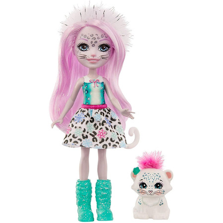 Papusa Enchantimals by Mattel Sybill Snow Leopard cu figurina Flake*