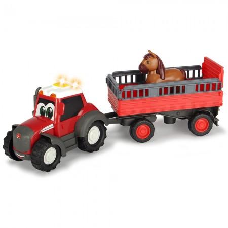 Tractor Dickie Toys Happy Ferguson Animal Trailer cu remorca si figurina cal*