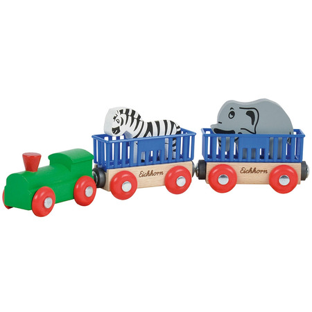 Tren din lemn Eichhorn Animal cu 2 figurine*