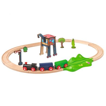 Set din lemn Eichhorn Tren cu sina ovala si accesorii*