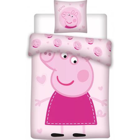 Set lenjerie pat copii Peppa Pig 100 x 135 + 40 x 60 SunCity BRM000188, roz*