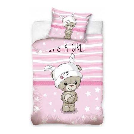 Set lenjerie pat copii Bear Girl 100 x 135 + 40 x 60 SunCity CBX191003, roz*
