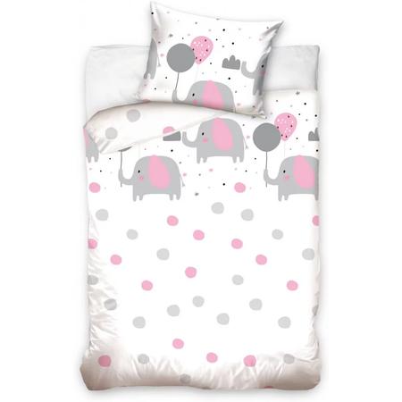 Set lenjerie pat copii Pink Elephant 100 x 135 + 40 x 60 SunCity CBX191021BABYA, roz*