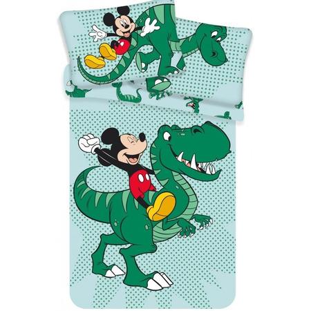 Set lenjerie pat copii Mickey Dino 100 x 135 + 40 x 60 SunCity JFK024775, verde*
