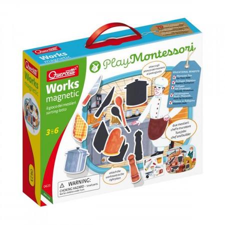 Joc educativ pentru copii Quercetti Play Montessori 0623 Works Magnetic Tablita cu 2 fete meserii magnetice*