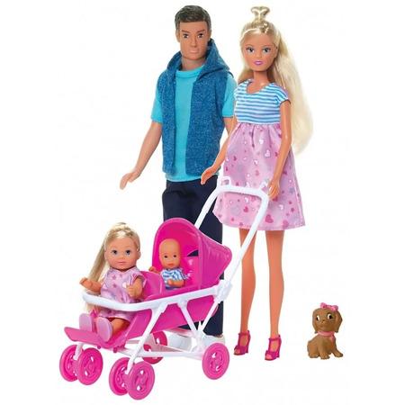 Set Simba Steffi Love Welcom Surprise Family papusa Steffy 29 cm, papusa Kevin 29 cm, papusa Evi 12 cm si accesorii*