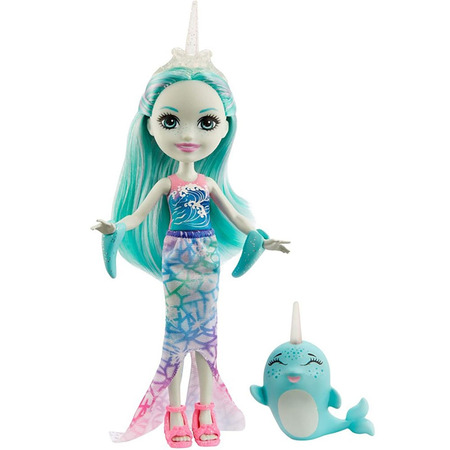 Papusa Enchantimals by Mattel Naddie Narwhal cu figurina Sword*