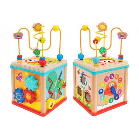 Cub educational multiactivitati globo din lemn 16 cm, Globo Legnoland*