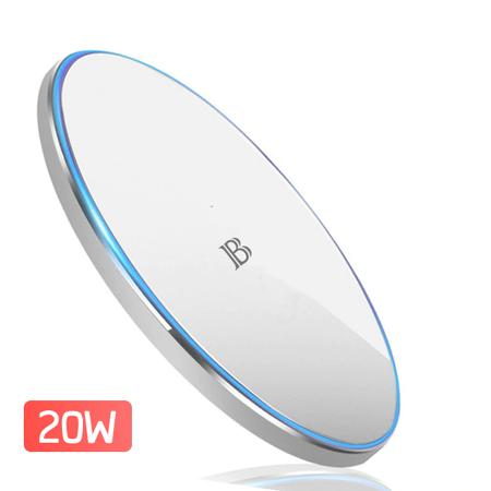 Incarcator wireless Bervolo Uno®, Fast Charge 20W, Protectie Supraincalzire, Incarcare rapida Samsung, Huawei, iPhone, LG, alb