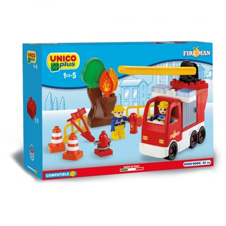 Set constructie unico camion pompieri cu scara reglabila 43 piese, Androni Giocattoli*