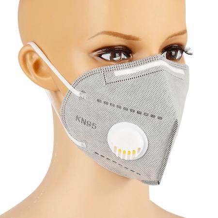 Set 10 buc Masti protectie covid FFP2, KN95, 6 straturi, protectie valva respiratorie 95%, filtru carbon, sigilate, gri