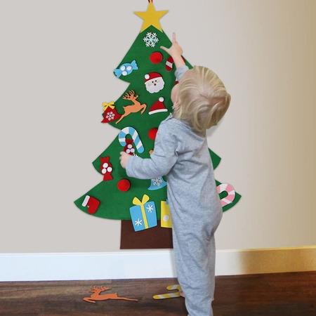 Brad de Craciun din Fetru 1 m, 26 decoratiuni Bambinice BN010*