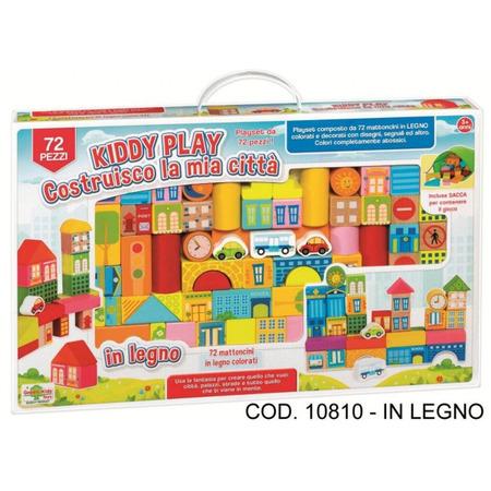 Set constructie Orasul meu din lemn RS Toys 72 piese cu desene*