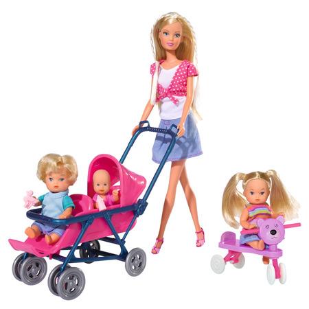 Papusa Simba Steffi Love 29 cm Baby World in bluza cu buline, cu 2 copii, 1 bebelus si accesorii*