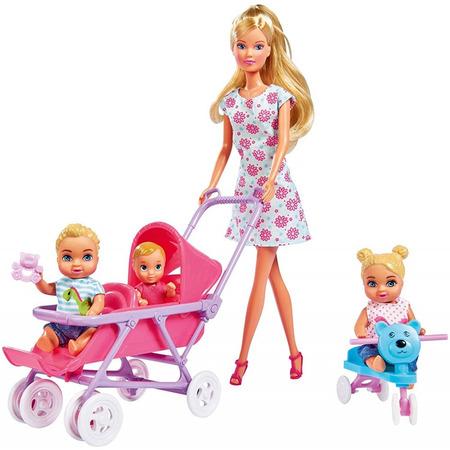 Papusa Simba Steffi Love 29 cm Baby World in rochie cu floricele, cu 2 copii, 1 bebelus si accesorii*