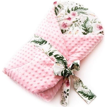 Paturica de infasat multifunctionala Minky Infantilo IF19043, in garden/roz*