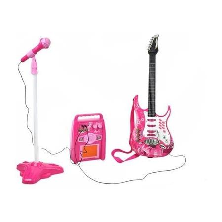 Set chitara, amplificator si microfon Iso Trade MY17462, roz*