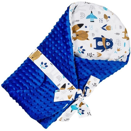 Paturica de infasat multifunctionala Minky Infantilo IF19043, ursuleti albastru inchis*