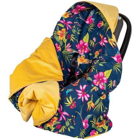 Paturica de infasat pentru scaun auto Velvet Infantilo IF19109, flori albastru/galben*