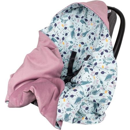 Paturica de infasat pentru scaun auto Velvet Infantilo IF19109, blue rabbit/mov*