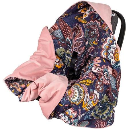 Paturica de infasat pentru scaun auto Velvet Infantilo IF19109, boho mov/roz*