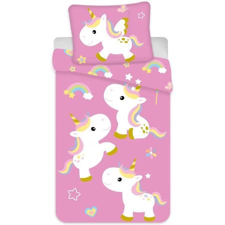 Set lenjerie pat copii Unicorn 100 x 135 + 40 x 60 SunCity BRM004054, roz*