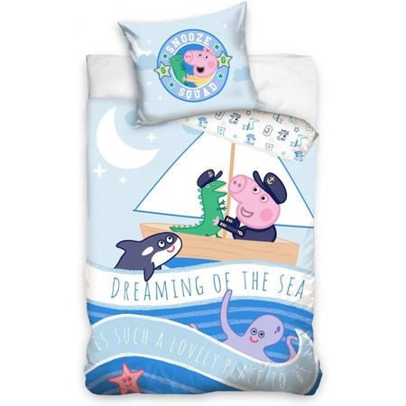 Set lenjerie pat copii Peppa Pig Dreaming of the Sea 100 x 135 + 40 x 60 SunCity CBX202012PP, albastru*