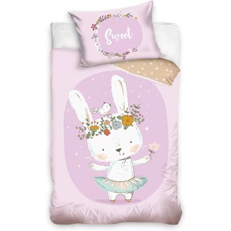 Set lenjerie pat copii Rabbit Sweet 100 x 135 + 40 x 60 SunCity CBX203002BABY, roz*