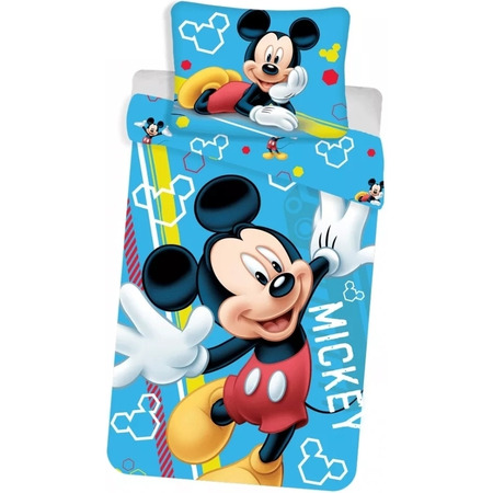 Set lenjerie pat copii Mickey Glow in the Dark 140 x 200 + 70 x 90 SunCity JFK024669, albastru*