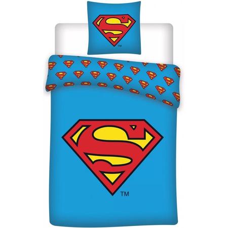 Set lenjerie pat copii Superman 140 x 200 + 70 x 90 SunCity BRM001602, albastru*