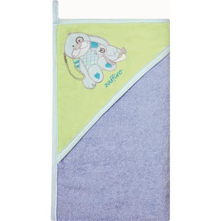 Prosop de baie cu gluga imprimeu velur 100 x 100 cm Womar Zaffiro AN-OW-01-10, albastru/verde*
