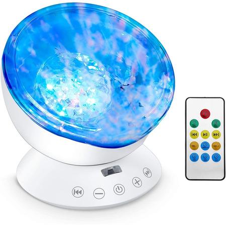 Lampa de veghe cu proiector si sunete Ocean Wave Bambinice BN022, alb*
