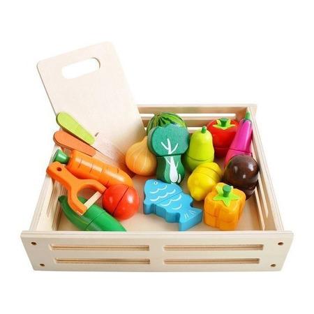 Set Ladita cu fructe si legume din lemn pentru feliat XXL Kruzzel MY17514*