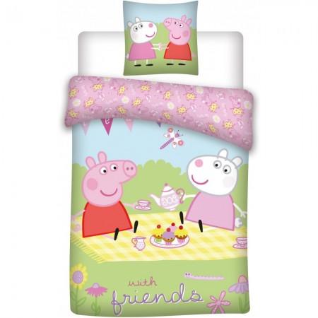 Set lenjerie pat copii Peppa Pig with Friends 100 x 135 + 40 x 60 SunCity BRM000971*