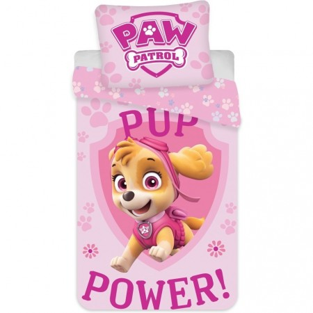 Set lenjerie pat copii Paw Patrol Pup Power Skye 100 x 135 + 40 x 60 SunCity BRM004986, roz*