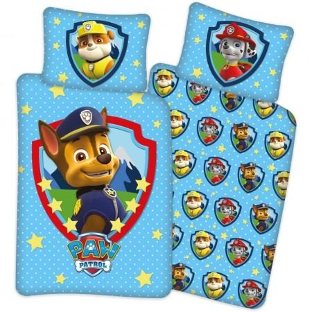 Set lenjerie pat copii Paw Patrol Stars 100 x 135 + 40 x 60 SunCity BRM005532, albastru*