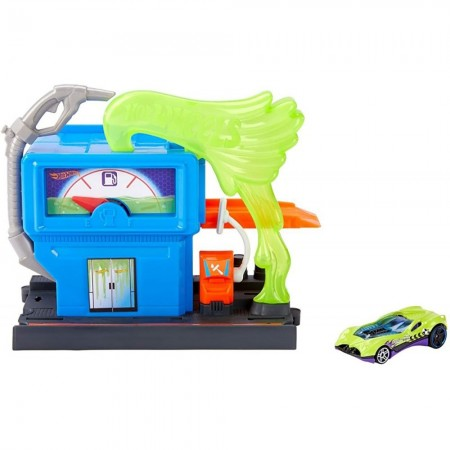 Pista de masini Hot Wheels by Mattel City Downtown Toxic Fluel Stop cu masinuta*
