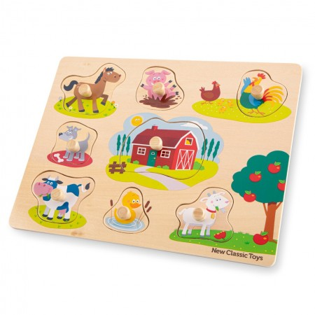 Puzzle lemn ferma 9 piese new, New Classic Toys*