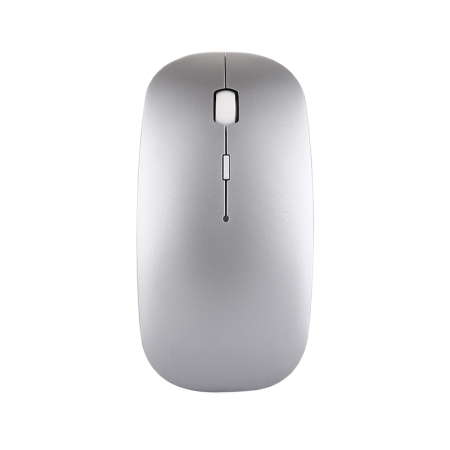 Mouse wireless Bervolo® Uno Office Silver, Bluetooth 5.0, reincarcabil prin usb, Windows, Mac, Android, baterie 750mAh