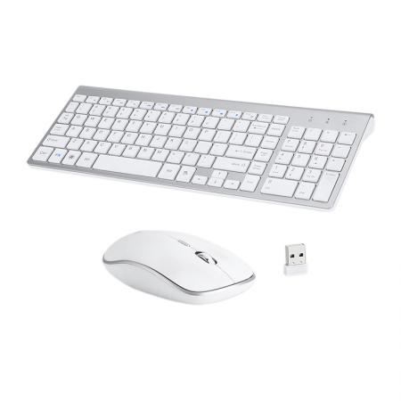 Set universal combo Tastatura si Mouse Premium Bervolo®, wireless 2.4G, alb, versiune US