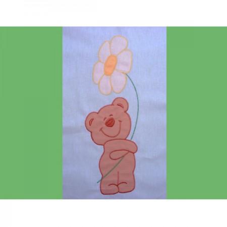 Lenjerie patut cu broderie Hubners Ursuletul Florar 4 piese verde