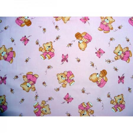 Lenjerie patut Hubners Ursulet cu albinute 4 piese roz