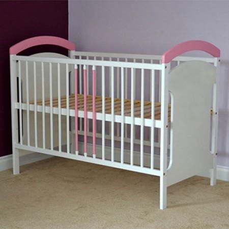 Patut copii din lemn Hubners Anita 120x60 cm alb-roz