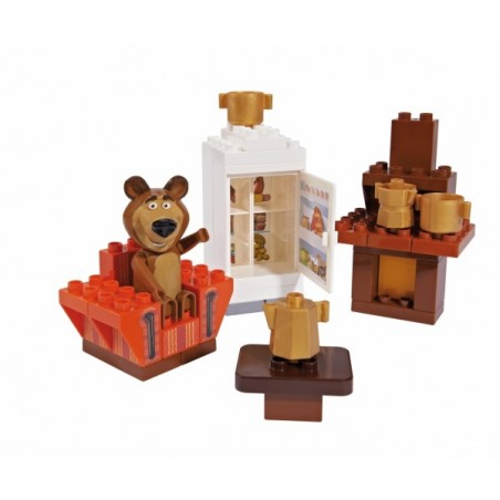 Set constructie cuburi Unico Masha si Ursul Galetusa cuburi Camera Mishei 35 piesE