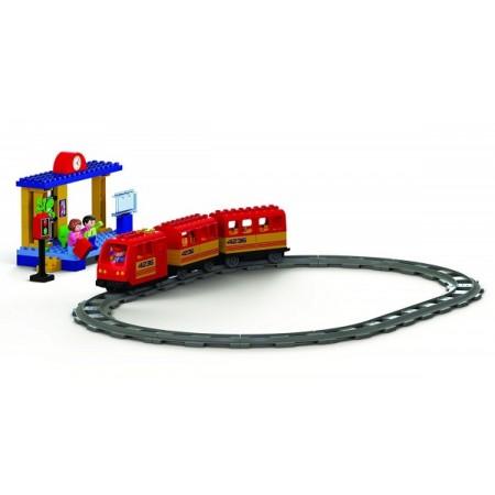 Set constructie Unico Plus Trenulet cu baterii 68 piese