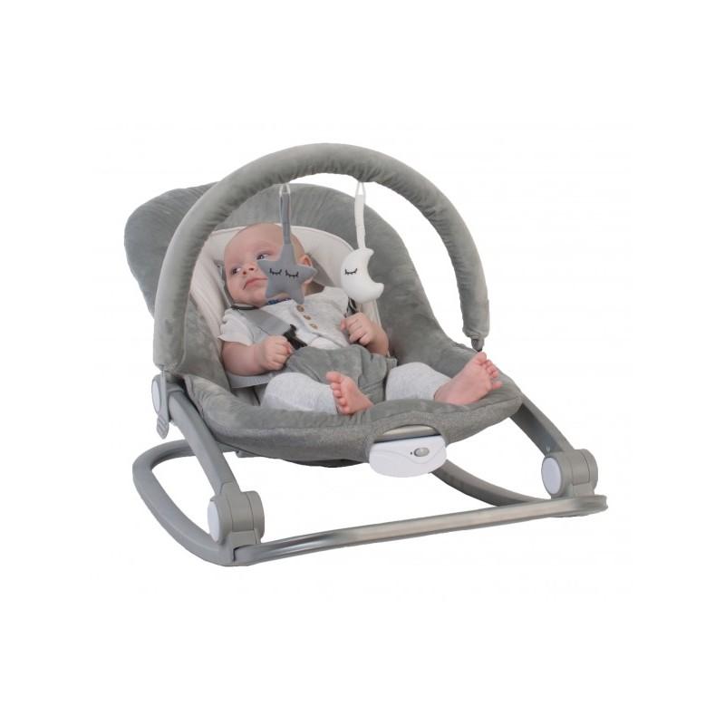 Balansoar cu vibratii BO Jungle Gri pentru bebelusi cu arcada jucarii
