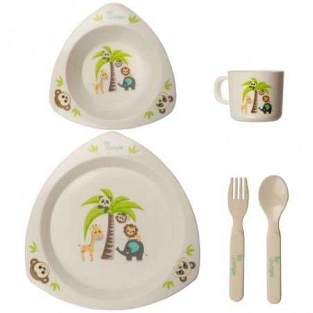 Set cina pentru bebelusi Prietenii Junglei in forma triunghiulara Bo Jungle